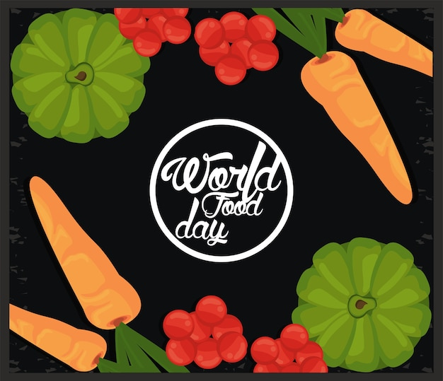 Quadro circular do dia mundial da alimentação com vegetais em preto.