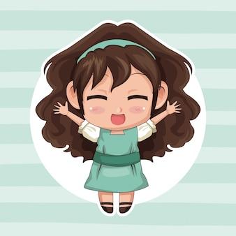 Quadro circular e fofos anime girl wink expressão braços abertos com cabelo encaracolado