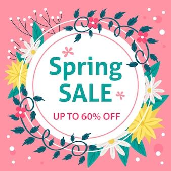 Quadro circular para venda de primavera em design plano