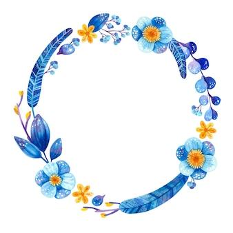 Quadro circular vazio com plantas azuis e amarelas