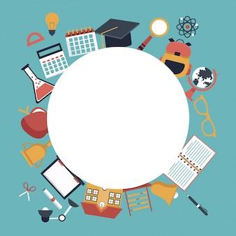 Quadro circular vazio e definir ícones de elementos escolares ao redor