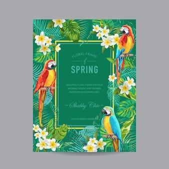 Quadro colorido de pássaros e flores tropicais - para convite, casamento, cartão de chá de bebê