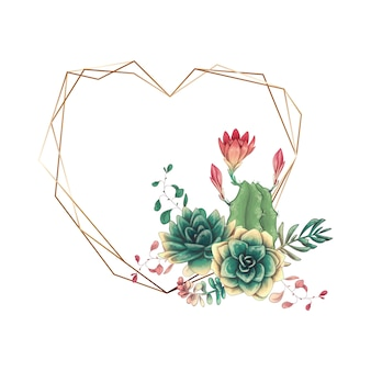 Quadro colorido do casamento com planta carnuda e cactos.