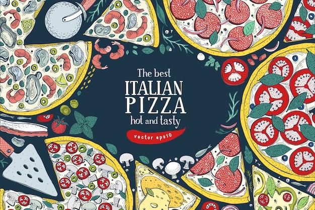 Quadro colorido italiano da opinião superior da pizza do vetor.