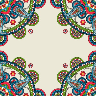 Quadro colorido paisley doodle indiano