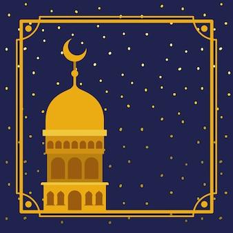 Quadro com a construção de mesquita dourada com céu de estrelas