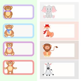Quadro com animais dos desenhos animados, ilustração de animais fofos
