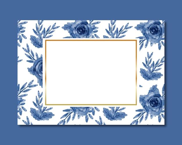 Quadro com aquarela floral azul sem costura padrão
