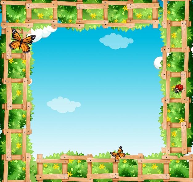Quadro com arbusto e borboletas