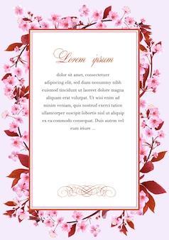 Quadro com as flores da cerejeira Vetor Premium