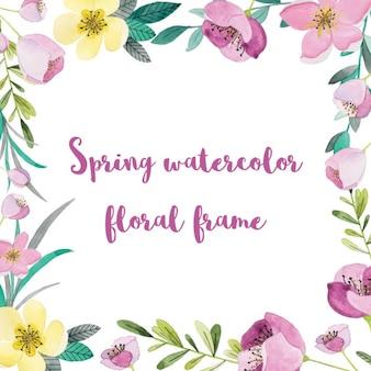 Quadro com as flores da primavera da aguarela