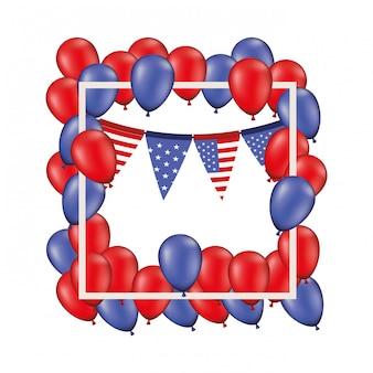 Quadro com balões vermelhos e azuis isolados