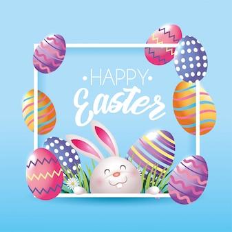 Quadro com coelho feliz e ovos decoração