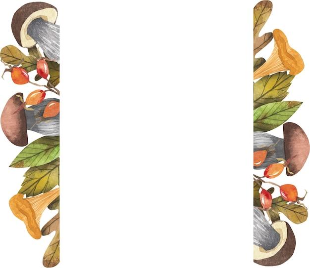Quadro com colheita de outono, potes de geléia, cogumelos, frutas, legumes, bagas