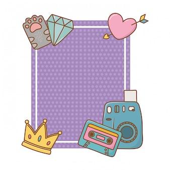 Quadro com coração de diamante de cassete de coroa