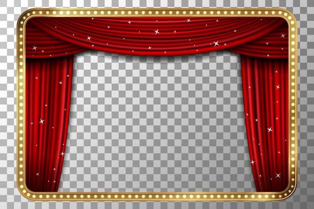 Quadro com cortina. moldura dourada retrô com cortina vermelha.
