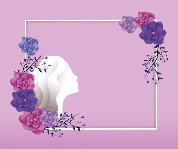 Quadro com decoração de mulher e rosas para evento