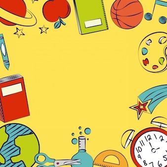 Quadro com elementos da escola, volta para ilustração de escola