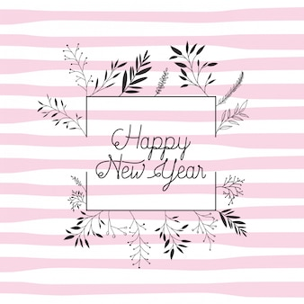 Quadro com feliz ano novo letras e grinalda coroa