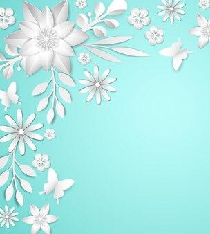 Quadro com flores de papel branco sobre fundo azul.