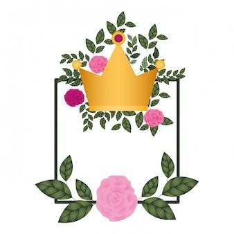 Quadro com flores e coroa ícone isolado