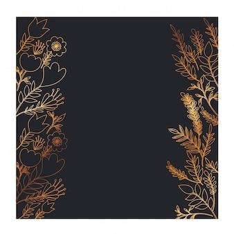 Quadro com flores e folhas douradas
