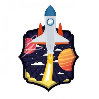 Quadro com foguete decolando e planetas