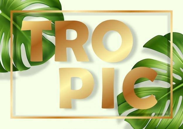 Quadro com folhas de monstera. banner com folhas realistas de uma planta de casa tropical sobre um fundo verde claro com sombras suaves e uma moldura de ouro.