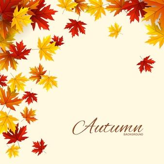 Quadro com folhas de outono vermelhas, laranja e amarelas,