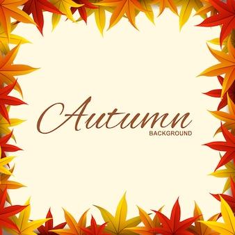 Quadro com folhas de outono vermelhas, laranja e amarelas
