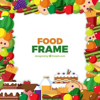 Quadro com frutas, legumes e fast food