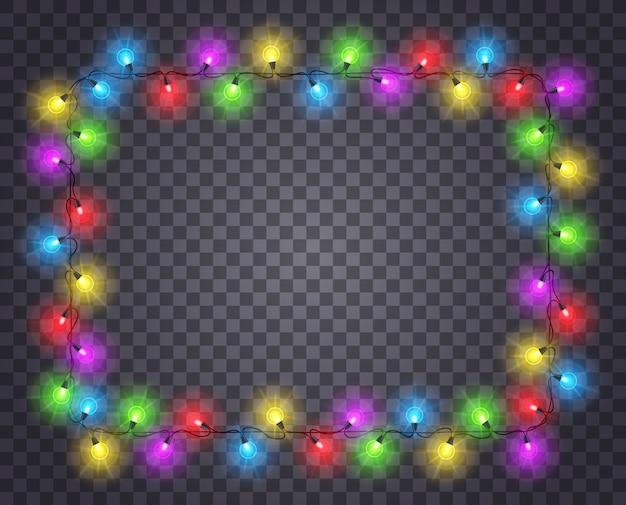Quadro com grinalda de luz. fronteira de natal com lâmpadas brilhantes de cor. decoração de natal isolada.