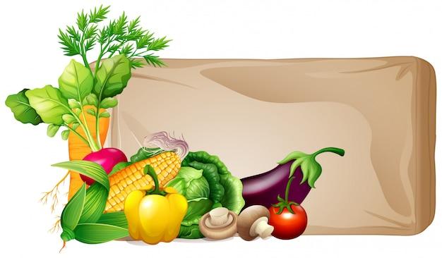Quadro com legumes frescos