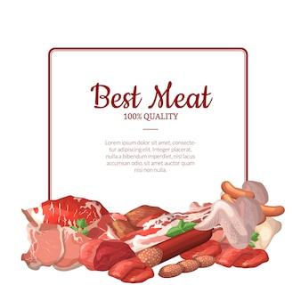 Quadro com lugar para texto com pilha de elementos de carne dos desenhos animados abaixo ilustração
