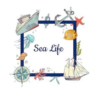 Quadro com lugar para texto e elementos do mar esboçado