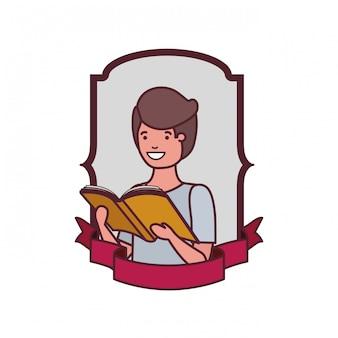 Quadro com menino estudante e livro de leitura