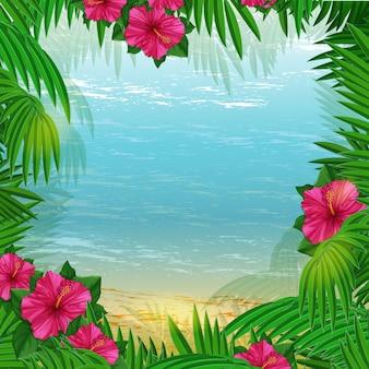 Quadro com palmeiras, hibisus e porsky paisagem.