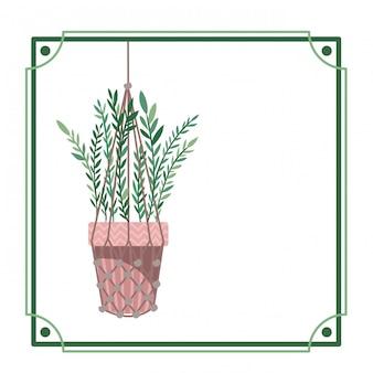 Quadro com planta de casa em cabides de macramé