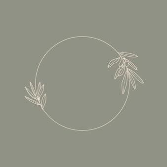 Quadro com ramo de oliveira com folhas em um estilo linear mínimo moderno. emblema do logotipo floral redondo do vetor para o modelo de embalagem de óleo, cosméticos, alimentos orgânicos, convites de casamento e cartões