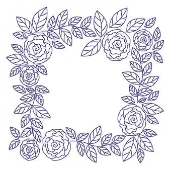 Quadro, com, rosa, isolado, ícone