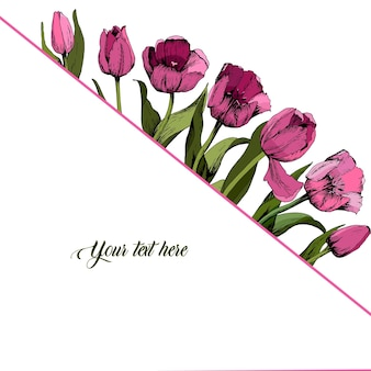 Quadro com tulipas cor de rosa coloridas. poster. humor de primavera. ilustração vetorial.