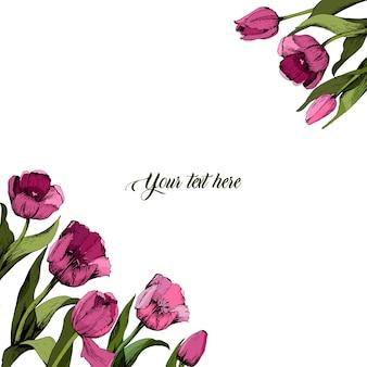 Quadro com tulipas cor de rosa