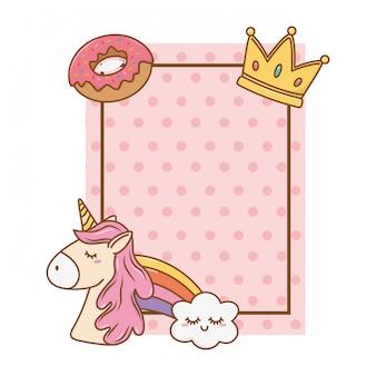 Quadro com unicórnio de coroa de donut