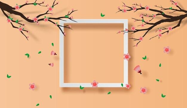 Quadro conceito de flor de cerejeira de primavera
