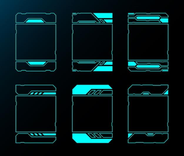 Quadro conjunto tecnologia fronteira abstrata interface futura hud