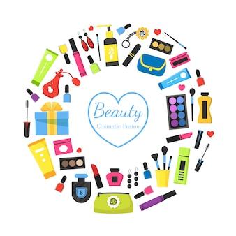 Quadro cosmético de beleza feminina