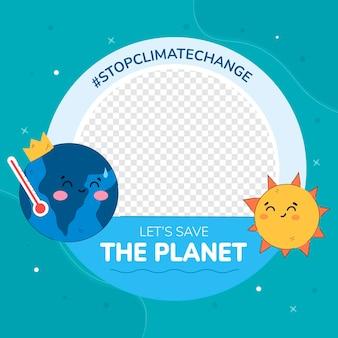 Quadro criativo sobre mudança climática no facebook