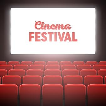 Quadro da tela do cinema do filme e interior do teatro.