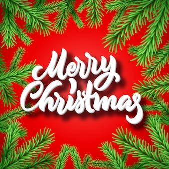 Quadro de abeto ou abeto de natal com letras caligráficas de feliz natal
