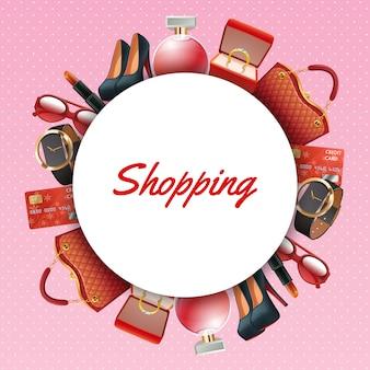 Quadro de acessórios de compras